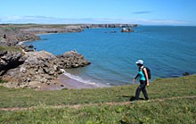 Walking the Pembrokeshire Coast Path near Broad Haven South