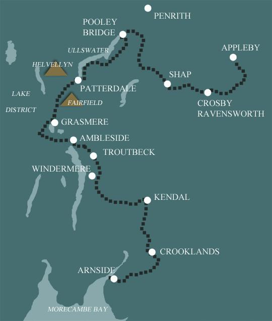Westmorland Way Wanderkarte